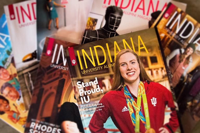 A pile of Indiana University Alumni Magazines