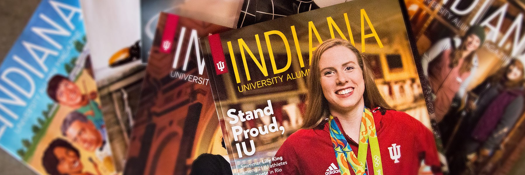 A pile of Indiana University Alumni Magazine magazines