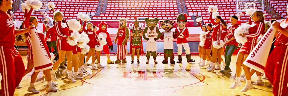 All IU mascots stand between two lines of IU cheerleaders