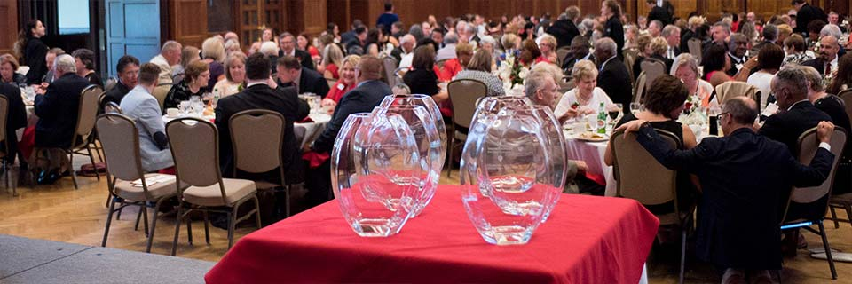 Four glass awards sit on a red table in front of a crowd of people sitting at round tables