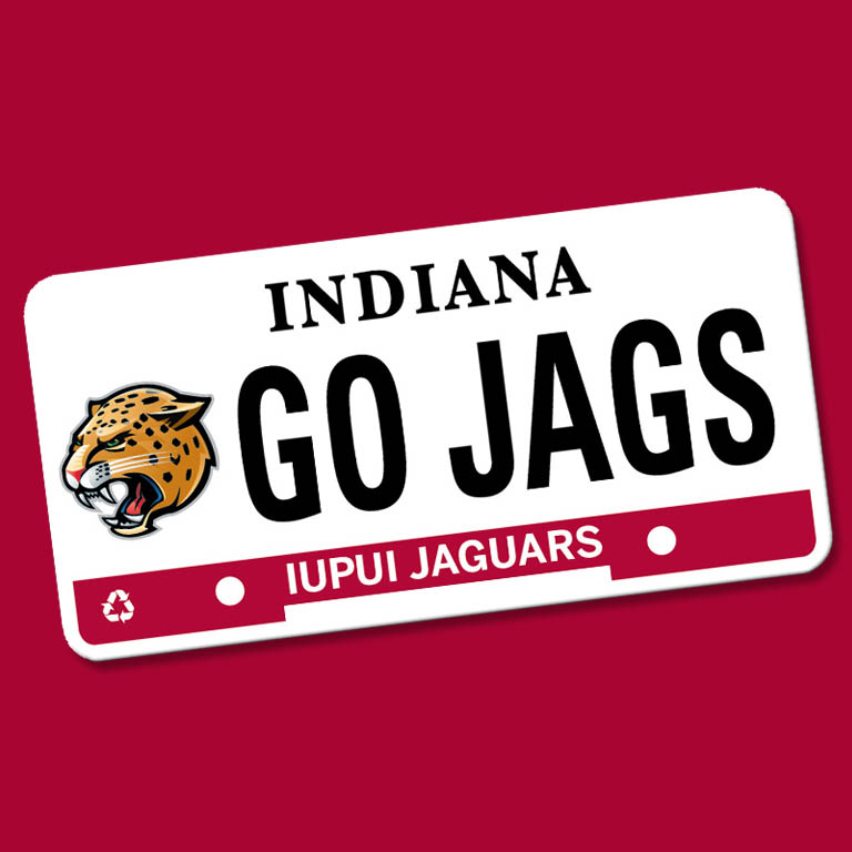 "An IUPUI Jaguars license plate that says ""GO JAGS."""