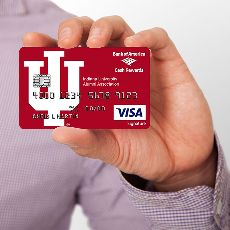 Person holding the IU Bank of America credit card