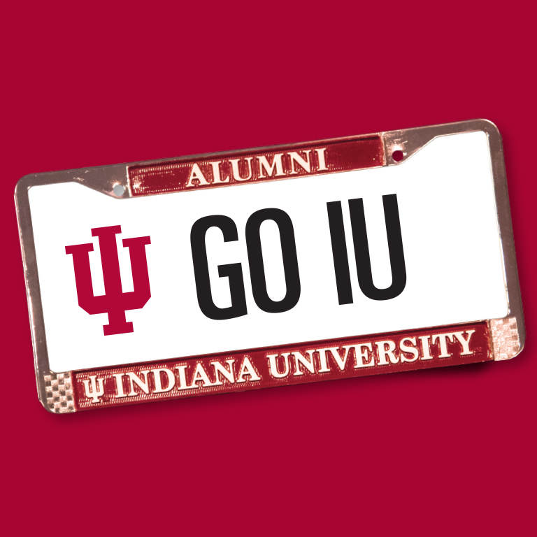 A license plate from with the word Alumni on top and Indiana University on the bottom