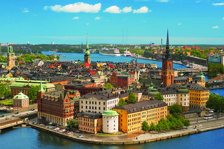 Aerial view of Stockholm Sweden