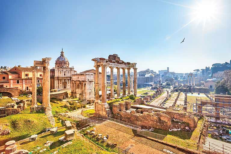 Roman ruins on a sunny day